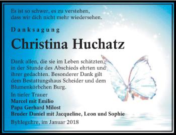 Traueranzeige für Christina Huchatz vom 13.01.2018 aus lausitzer_rundschau