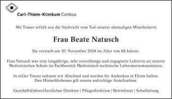 Traueranzeige für Beate Natusch vom 21.11.2018 aus lausitzer_rundschau