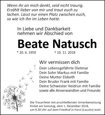 Traueranzeige für Beate Natusch vom 24.11.2018 aus lausitzer_rundschau