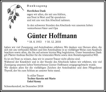 Traueranzeige von Günter Hoffmann von lausitzer_rundschau