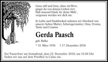 Traueranzeige für Gerda Paasch vom 20.12.2018 aus lausitzer_rundschau