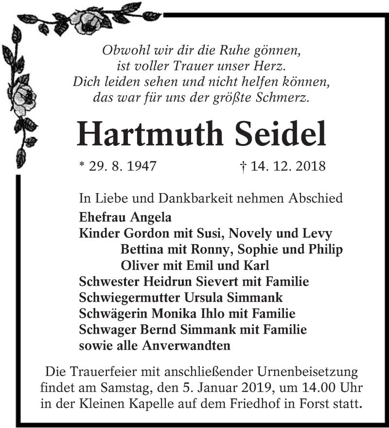 Traueranzeige für Hartmuth Seidel vom 21.12.2018 aus lausitzer_rundschau