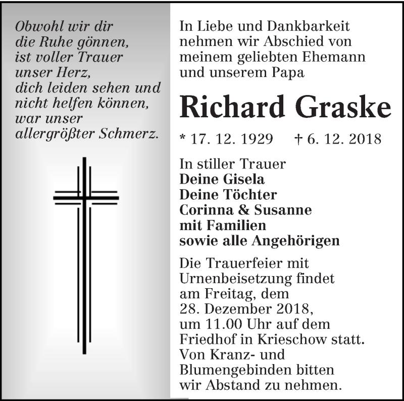 Traueranzeige für Richard Graske vom 15.12.2018 aus lausitzer_rundschau