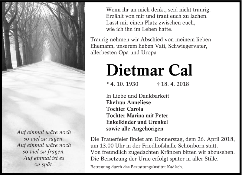 Traueranzeige für Dietmar Cal vom 21.04.2018 aus lausitzer_rundschau