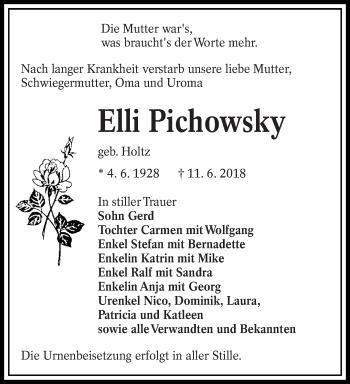 Traueranzeige für Elli Pichowsky vom 16.06.2018 aus lausitzer_rundschau