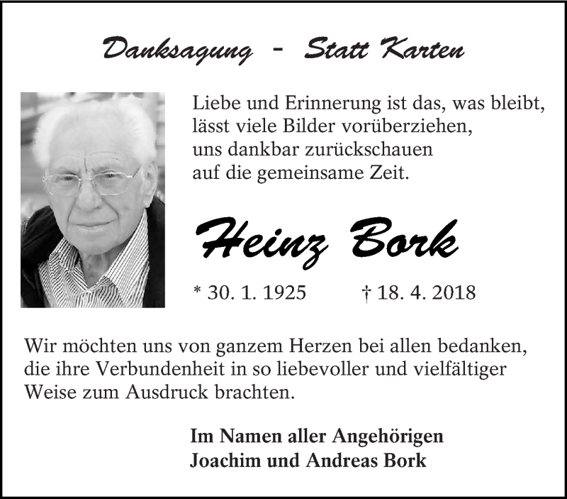 Traueranzeige für Heinz Bork vom 06.06.2018 aus lausitzer_rundschau