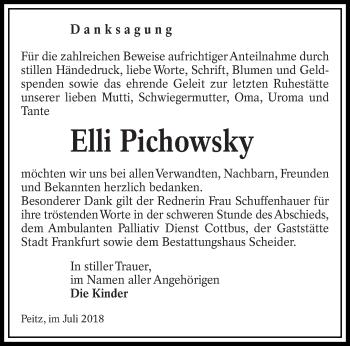 Traueranzeige für Elli Pichowsky vom 07.07.2018 aus lausitzer_rundschau