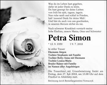 Traueranzeige für Petra Simon vom 17.07.2018 aus lausitzer_rundschau