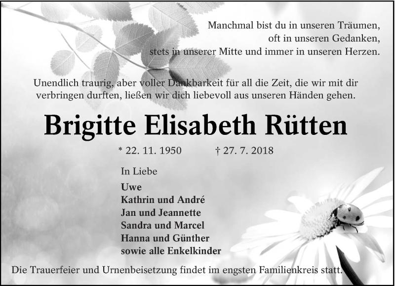 Traueranzeige für Brigitte Elisabeth Rütten vom 04.08.2018 aus lausitzer_rundschau