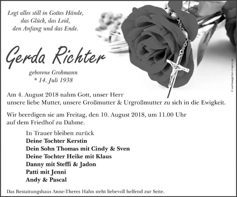 Traueranzeige für Gerda Richter vom 08.08.2018 aus lausitzer_rundschau