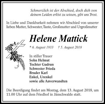 Traueranzeige für Helene Mattick vom 08.08.2018 aus lausitzer_rundschau