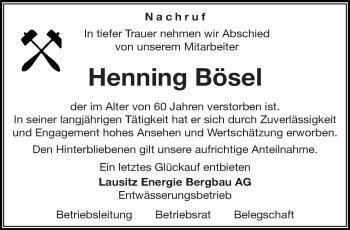 Traueranzeige für Henning Bösel vom 08.08.2018 aus lausitzer_rundschau