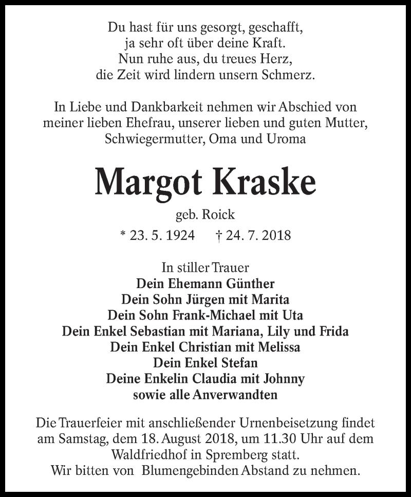 Traueranzeige für Margot Kraske vom 08.08.2018 aus lausitzer_rundschau
