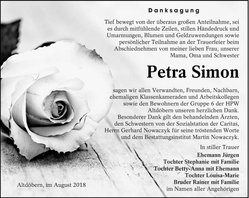 Traueranzeige für Petra Simon vom 08.08.2018 aus lausitzer_rundschau
