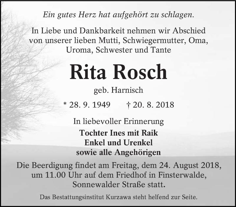 Traueranzeige für Rita Rosch vom 23.08.2018 aus lausitzer_rundschau