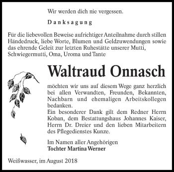 Traueranzeige für Waltraud Onnasch vom 18.08.2018 aus lausitzer_rundschau