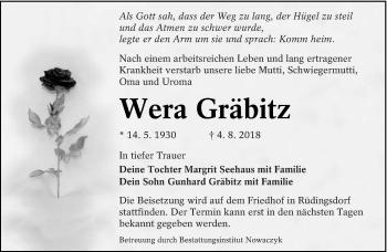 Traueranzeige für Wera Gräbitz vom 08.08.2018 aus lausitzer_rundschau