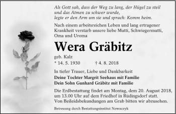Traueranzeige für Wera Gräbitz vom 16.08.2018 aus lausitzer_rundschau