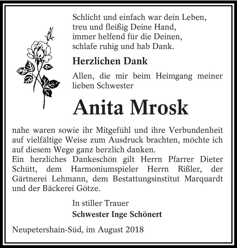 Traueranzeige für Anita Mrosk vom 01.09.2018 aus lausitzer_rundschau
