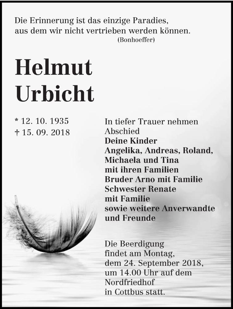 Traueranzeige für Helmut Urbicht vom 19.09.2018 aus lausitzer_rundschau