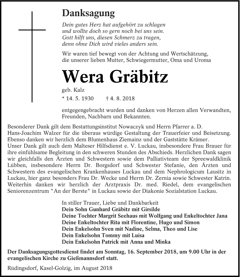 Traueranzeige für Wera Gräbitz vom 01.09.2018 aus lausitzer_rundschau