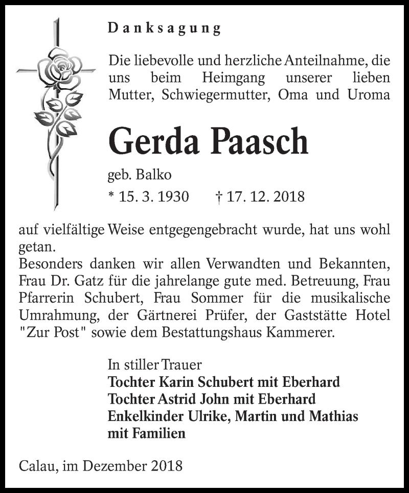 Traueranzeige für Gerda Paasch vom 19.01.2019 aus lausitzer_rundschau