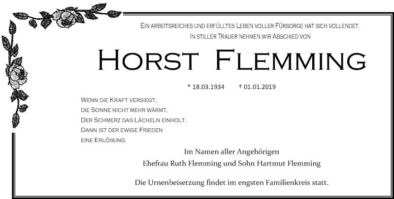 Traueranzeige für Horst Flemming vom 12.01.2019 aus lausitzer_rundschau