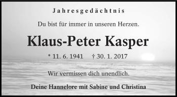 Traueranzeige für Klaus-Peter Kasper vom 30.01.2019 aus lausitzer_rundschau