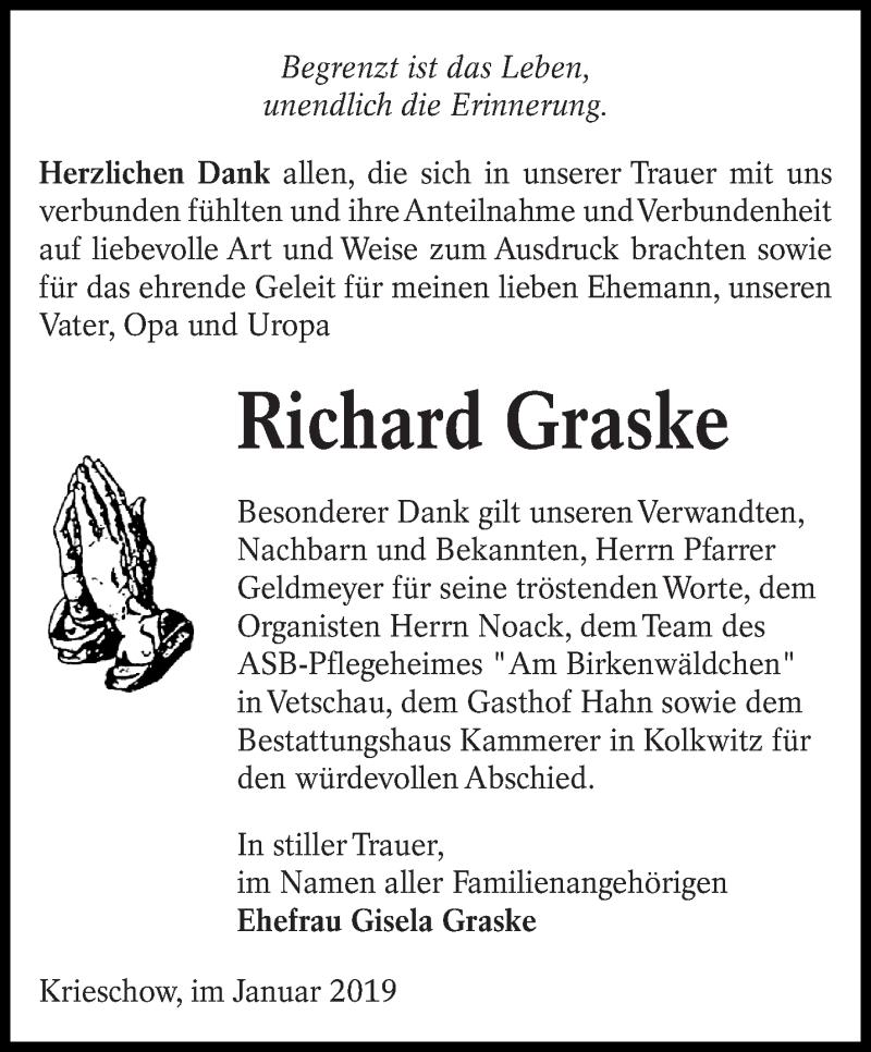 Traueranzeige für Richard Graske vom 12.01.2019 aus lausitzer_rundschau