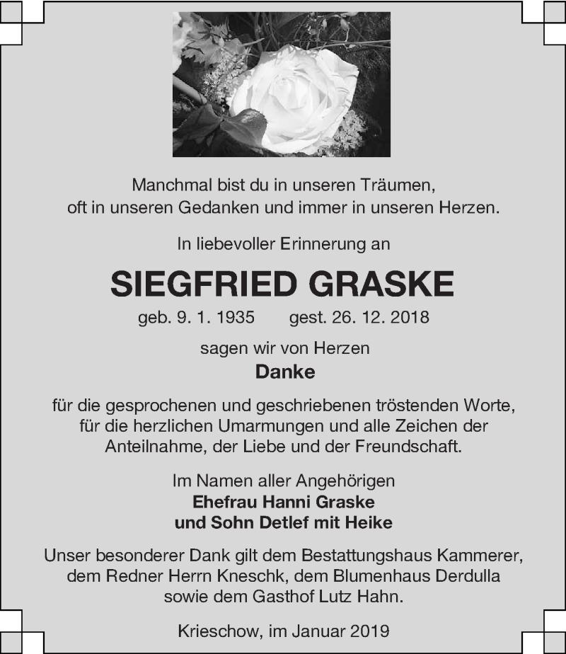 Traueranzeige für Siegfried Graske vom 19.01.2019 aus lausitzer_rundschau