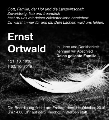 Traueranzeige von Ernst Ortwald von lausitzer_rundschau