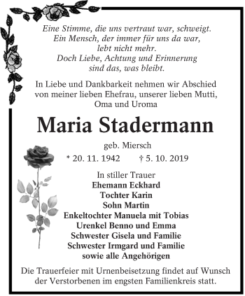 Traueranzeige von Maria Stadermann von lausitzer_rundschau