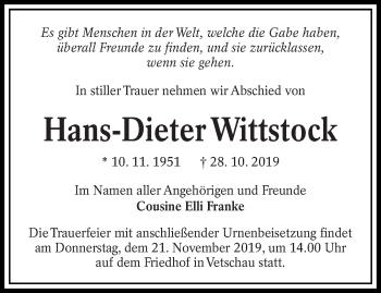 Traueranzeige von Hans-Dieter Wittstock von lausitzer_rundschau