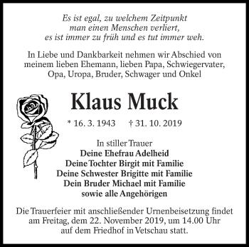 Traueranzeige von Klaus Muck von lausitzer_rundschau