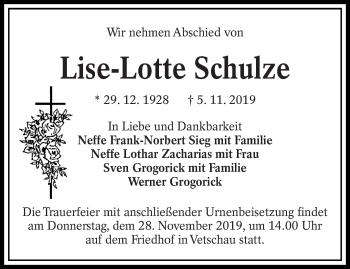 Traueranzeige von Lise-Lotte Schulze von lausitzer_rundschau