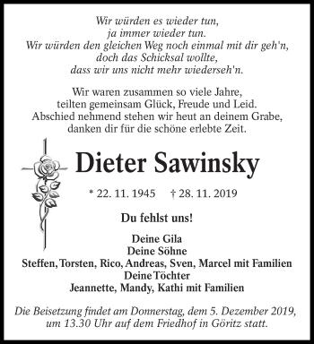 Traueranzeige von Dieter Sawinsky von lausitzer_rundschau