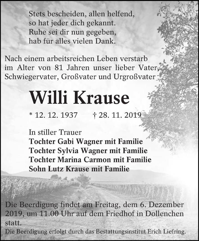 Traueranzeige für Willi Krause vom 30.11.2019 aus lausitzer_rundschau