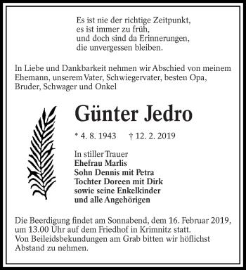 Traueranzeige für Günter Jedro vom 14.02.2019 aus lausitzer_rundschau