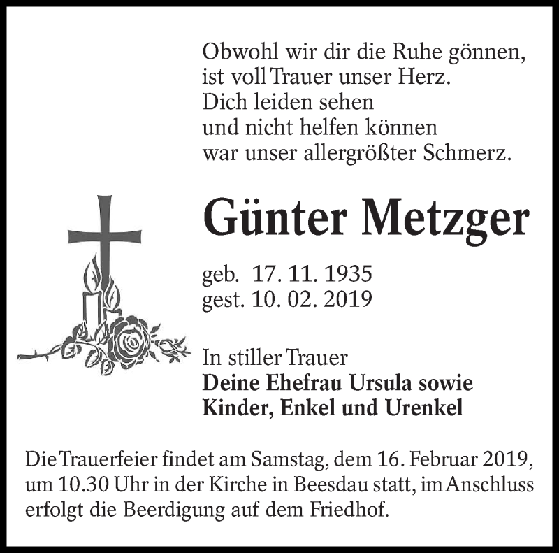Traueranzeige für Günter Metzger vom 12.02.2019 aus lausitzer_rundschau