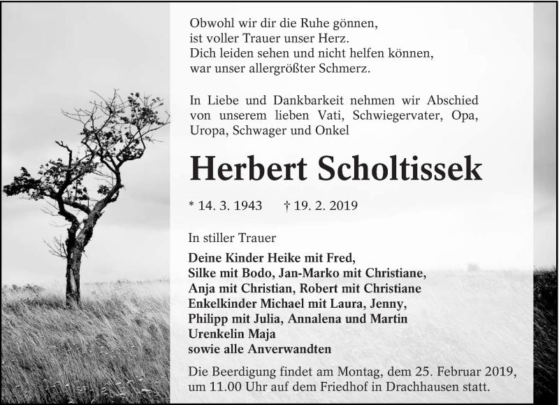 Traueranzeige für Herbert Scholtissek vom 21.02.2019 aus lausitzer_rundschau