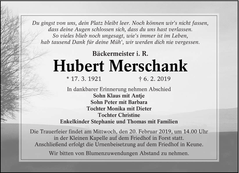 Traueranzeige für Hubert Merschank vom 16.02.2019 aus lausitzer_rundschau
