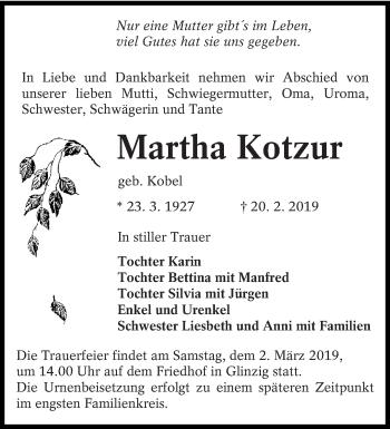 Traueranzeige für Martha Kotzur vom 23.02.2019 aus lausitzer_rundschau