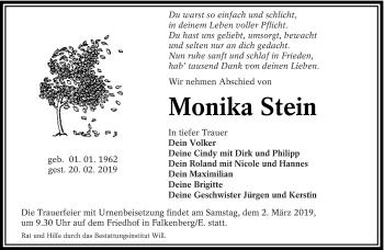 Traueranzeige von Monika Stein von lausitzer_rundschau
