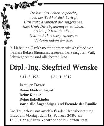 Traueranzeige für Siegfried Wenske vom 02.02.2019 aus lausitzer_rundschau