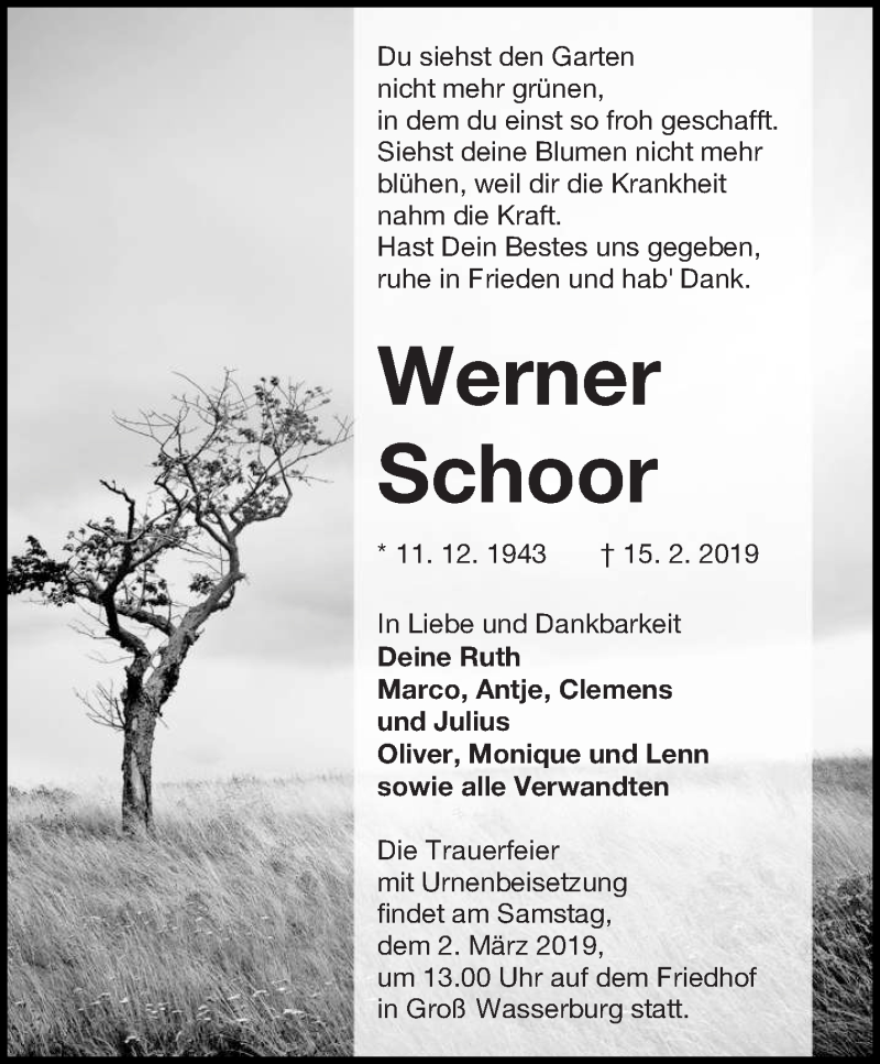 Traueranzeige für Werner Schoor vom 23.02.2019 aus lausitzer_rundschau