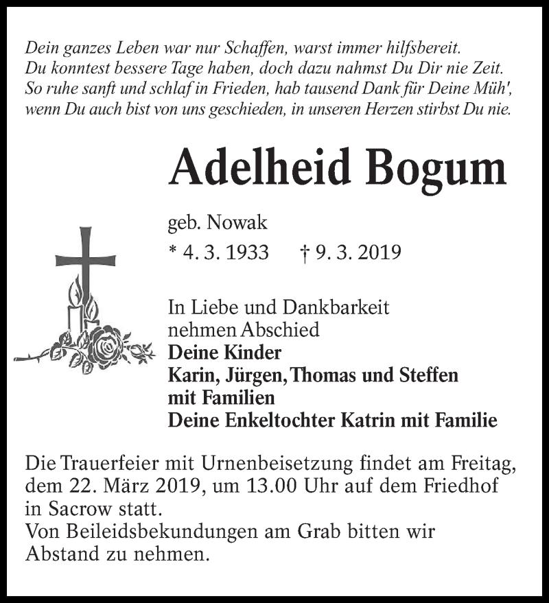 Traueranzeige für Adelheid Bogum vom 16.03.2019 aus lausitzer_rundschau
