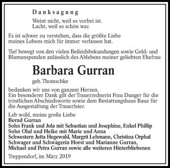 Traueranzeige für Barbara Gurran vom 19.03.2019 aus lausitzer_rundschau