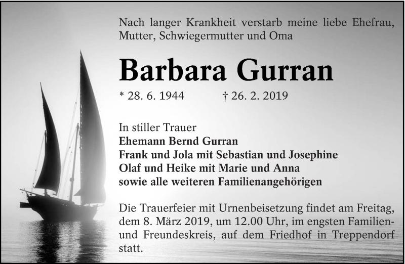 Traueranzeige für Barbara Gurran vom 02.03.2019 aus lausitzer_rundschau
