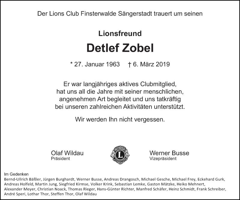 Traueranzeige für Detlef Zobel vom 16.03.2019 aus lausitzer_rundschau