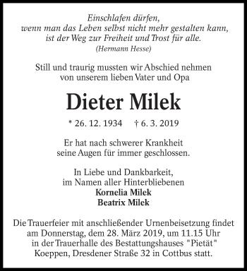 Traueranzeige für Dieter Milek vom 23.03.2019 aus lausitzer_rundschau